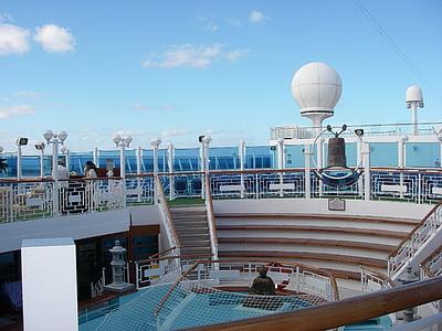 kryssningsfartyg, semester, resor, fartyg, däck, havet, passagerare