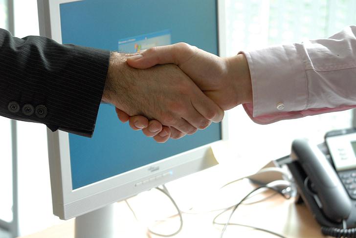 håndtryk, Business, professionel, aftale, forretningsmand, teamwork, hilsen