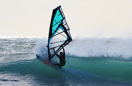 surfer, σανίδα του σερφ, κύμα, θαλάσσια σπορ, μπλε, Άνεμος, παραλία