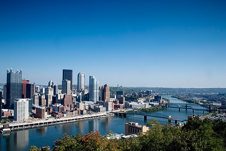 Pittsburgh, Pennsylvania, skyline, arkitektur, floden, City, byer