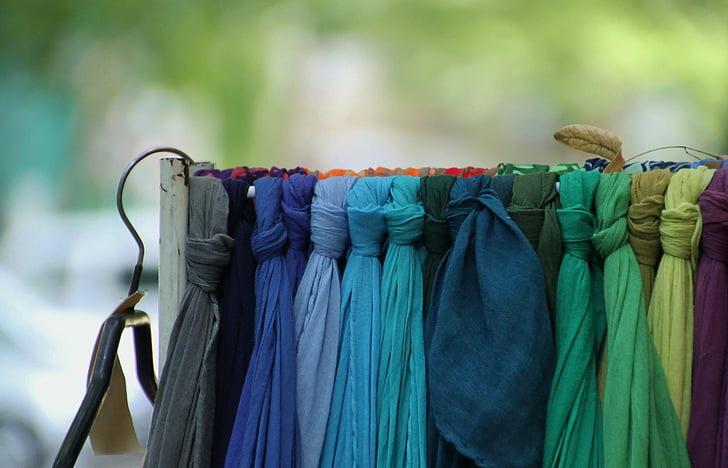 sál, zár, piac, színes, szín, anyagok, szövet