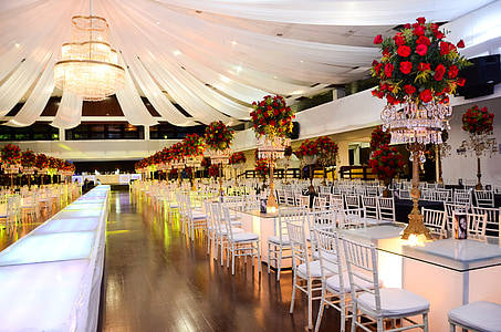 intérieur, bagages, bal d'étudiants, réception, Tableau, restaurant, célébration