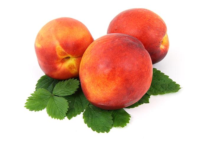 produse alimentare, proaspete, fructe, izolat, frunze, nectarin, organice