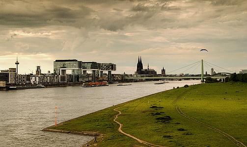 Cologne, sông Rhine, Nhà thờ Cologne cathedral, Landmark, Bridge, cần cẩu nhà, con tàu