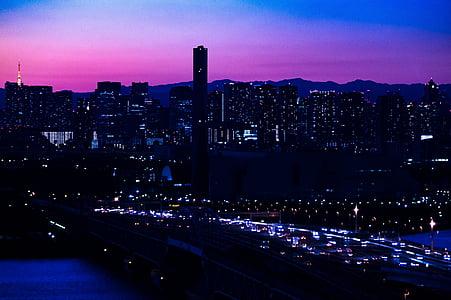 éjszakai, Japán, éjszaka, híd, épület, Skyline, táj
