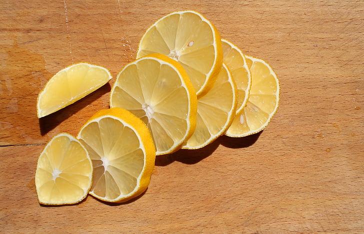 лимон, филия, жълто, плодове, цитрусови плодове, пресни, сочен