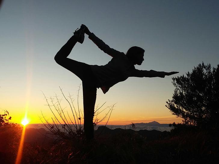 femmes, silhouette, Yoga, grancanaria, le coucher du soleil, personne