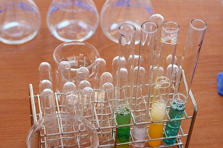 laboratorium, chemie, onderwerpen, chemische stof, fles, reageren, verbindingen