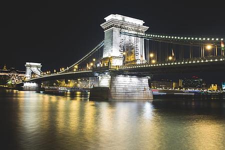 bridge, lights, night, river, suspension bridge, famous Place, bridge - Man Made Structure
