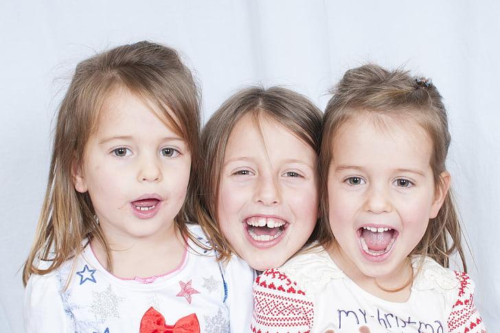 gyermek, portré, boldog, szórakozás, gyerek, kis, család