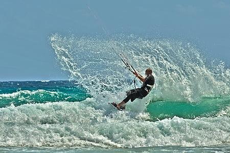 kitesurfing, vattensporter, dynamiska, havet, idrott, surfing, män