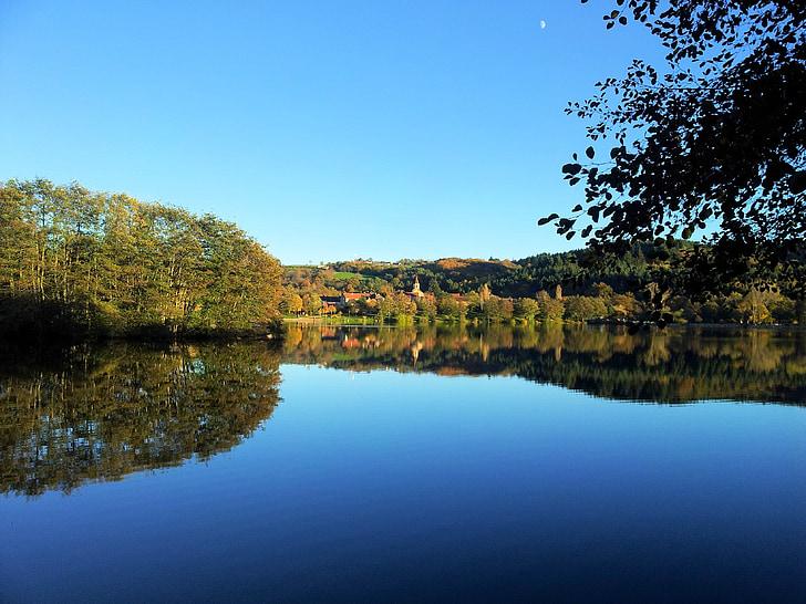 Lago, Saint-eloy-les-mines, Ilha, paisagem, Verão, reflexão, natureza