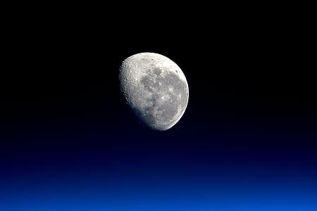 blanc, Lluna, imatge, terra, planeta terra, NASA, planetes