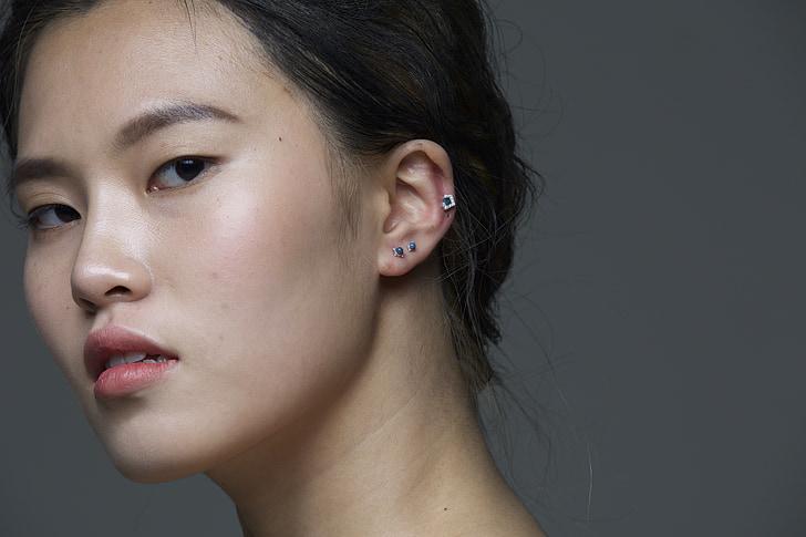 piercing, cl, model, móda, Dámske, tváre, asiam
