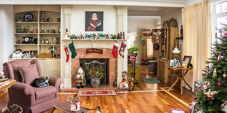 traditsiooniline kodu, teenetemärgid, jõulud, Xmas, Holiday, siseruumides, interjöör