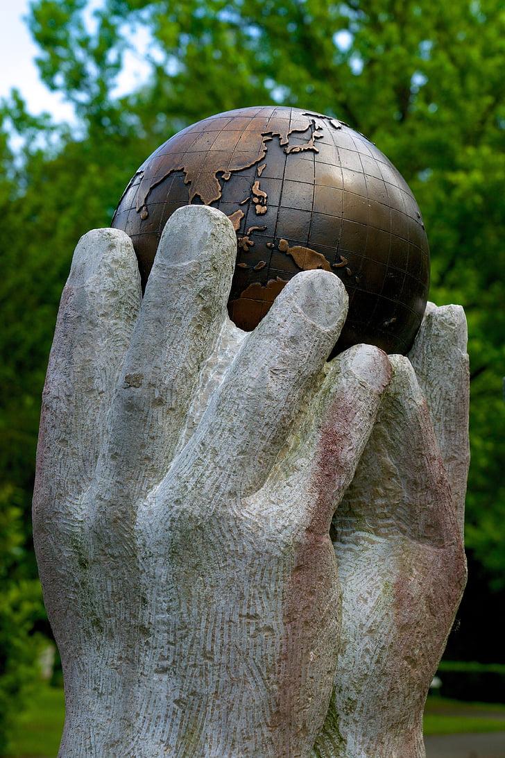 Globe, világ, kezek, hozzáférés, Lift, tartsa