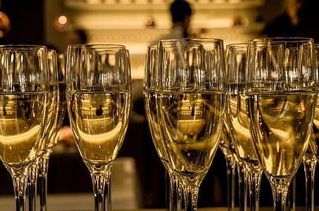 Martini, glas, hel, Champaign, mousserande vin, Glasögon, nya år