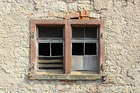 window, old, old window, glass, architecture, masonry, brick