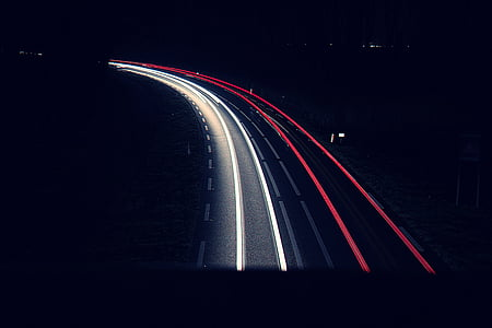 dark, lights, long-exposure, night, road, highway, traffic