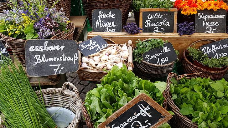 mercat, estand, verdures, paradeta, mercat local de grangers, romàntic, Sa