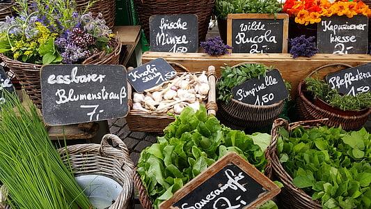 turu, seista, köögiviljad, turu varisemine, kohaliku taluturu, romantiline, terve