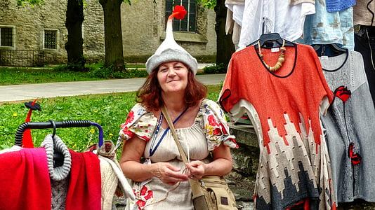 Tallinn marktfrau, Estonya, Baltık Denizi, Aida, gemi seyahat, Cruise, tatil