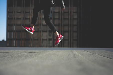 사람, 점프, 신발, 레드, 나이키, 도시, 젊은