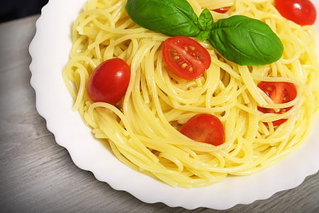 fideus, Espaguetis, pastes, tomàquets, menjar, aliments, groc
