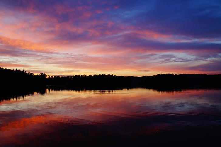 abendstimmung, hoàng hôn, Lake, Thuỵ Điển, förjön lake, Idyll, bầu trời buổi tối