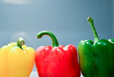 foto, trīs, dzeltena, sarkana, zaļa, zvans, pipari