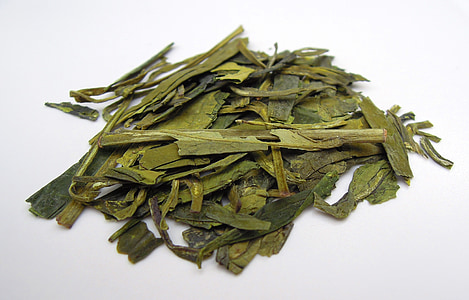 tea leaves, green tea, tea, teacup, dried leaves, food