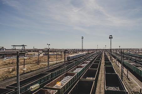 road trains, wagons, railway tracks, railway, train, rail, kazakhstan