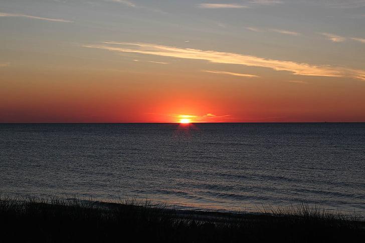 pôr do sol, arrebol, Mar Báltico, céu da noite, mar