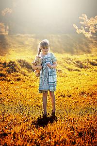 πρόσωπο, ανθρώπινη, το παιδί, Κορίτσι, αρκουδάκι, έξω, φύση