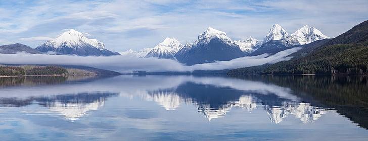 Llac mcdonald, paisatge, boira, boira, muntanyes, horitzó, pics