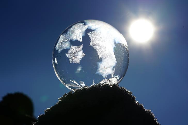 soap bubble, crystals, eiskristalle, ze, cold, bubble, back light