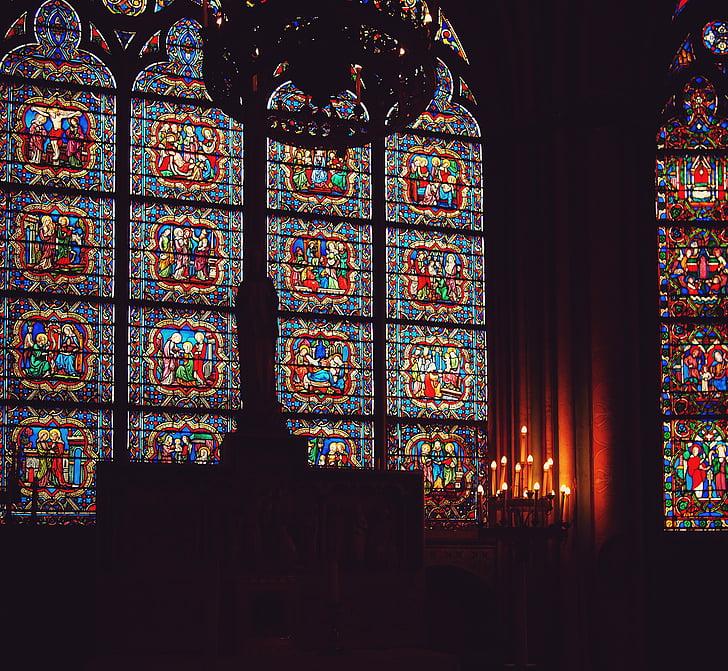 multi, color, mosaic, finestra, panells, Catedral de Notre Dame, París