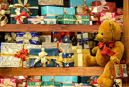 christmas, gifts, teddy bear, joy, greeting card, packaging, packed