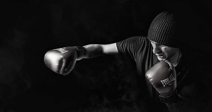 aikuinen, urheilija, musta-valkoinen, konepelti, nyrkkeilijä, Nyrkkeily, tumma