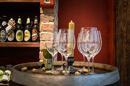 õlu, veiniklaasi, veini, pudel, kauplus, alkoholi, barrel