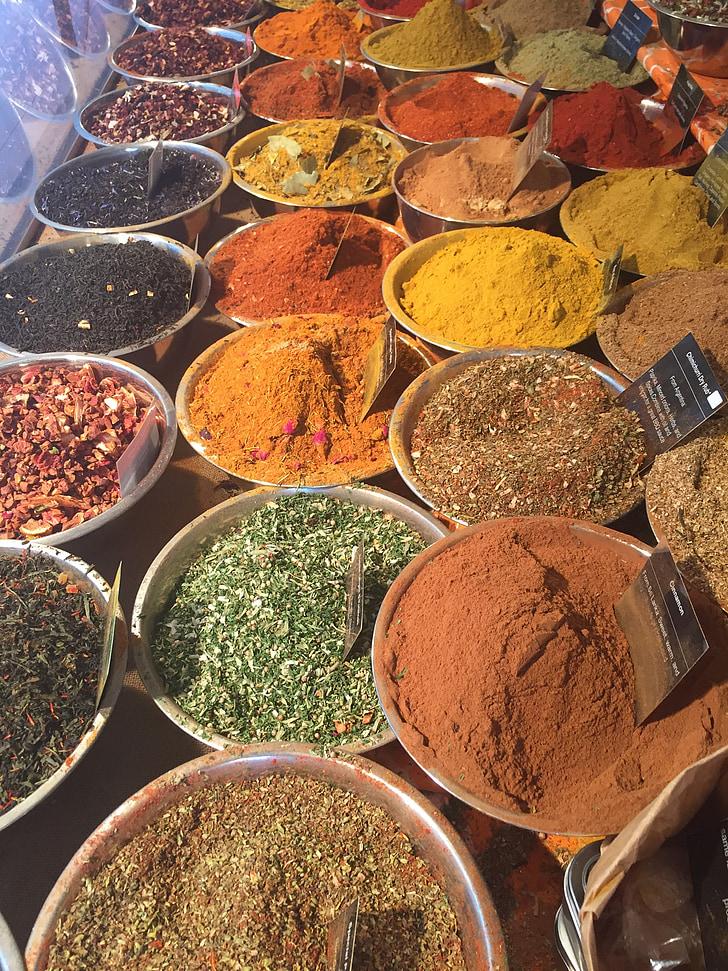 krydder, markedet, bartiste, krydder, paprika, karri pulver