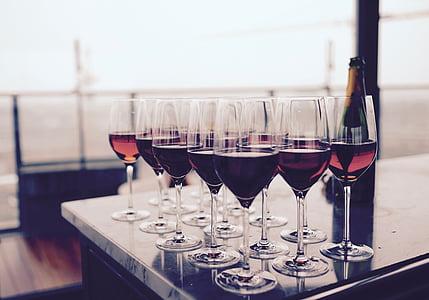 bar, flaska, händelse, Glasögon, rött vin, restaurang, vin
