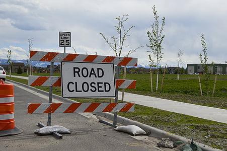 road closed, sidewalk closed, construction, urban, traffic, transportation, detour