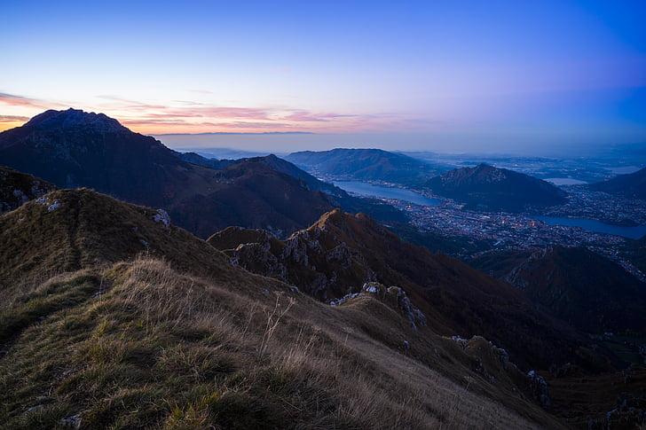 blå himmel, landskap, bergen, naturen, vacker natur, Sky, solnedgång