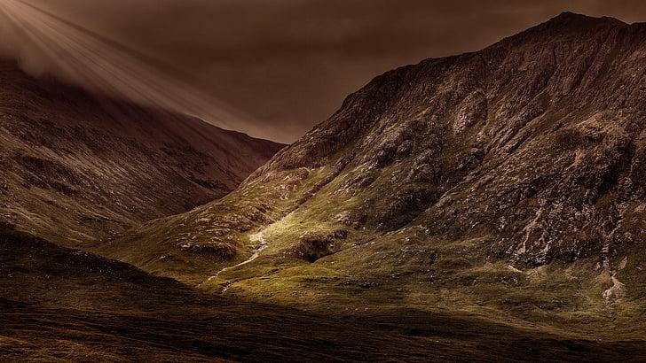 montanhas, Panorama, paisagem, maciço, perspectivas, humor, Drama