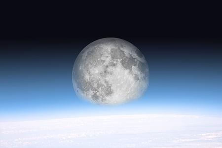 moon, space, all, horizon, atmosphere, sky, fog