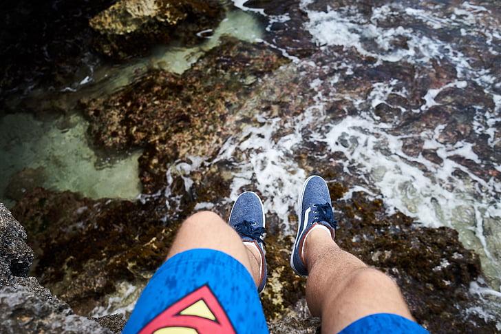persones, home, viatges, sabata, cama, roques, Costa