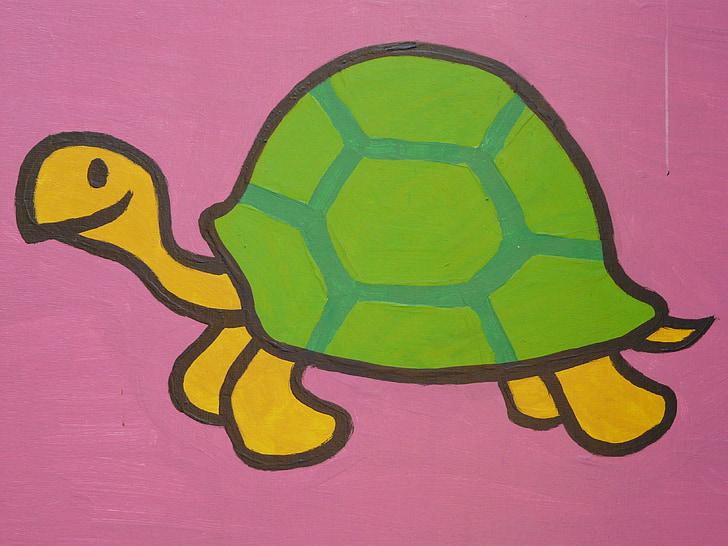костенурка, анимационен герой, Рисуване, Смешно, изображение, животните, фигура