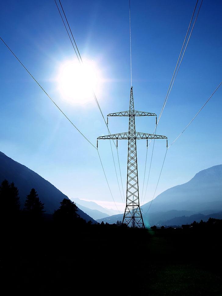 sol, pols de poder, gurgltal, energia, electricitat, línia de poder, muntanya