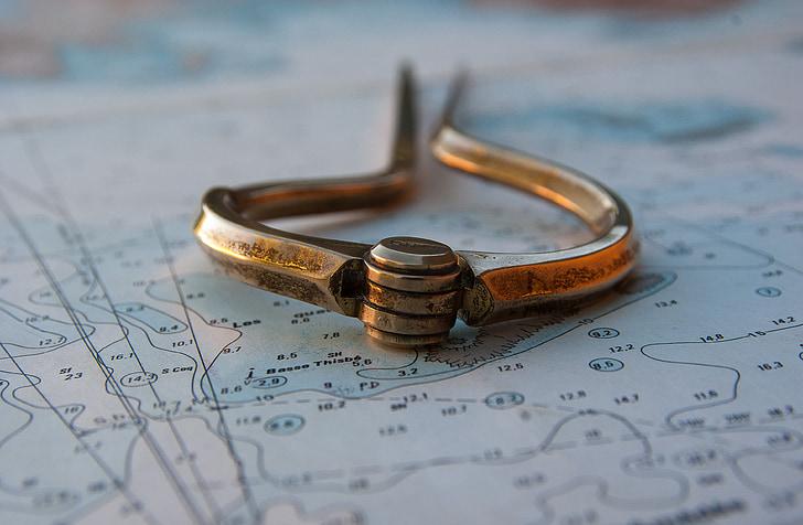 Deniz harita, Pusula, Gezinti, Marin